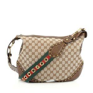 Gucci Pelham Monogram Studded Canvas Hobo Bag